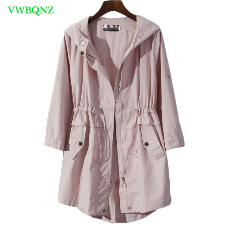 Thin section Single Sun protection Windbreaker Women coat Summer New Seven sleeves   Trench   coat Womens Casual Outerwear Pink A666