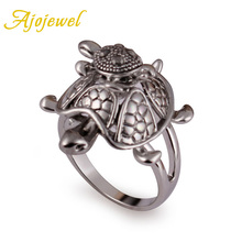 Ajojewel New Animal Jewelry White Gold Plated Crystal Turtle Ring Mum Carrying Son