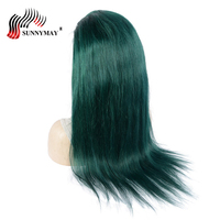 Sunnymay Green Color Full Lace Human Hair Wigs Brazilian Remy Hair Straight Pre Plucked Full Lace Wigs Glue Cap Baby Hair