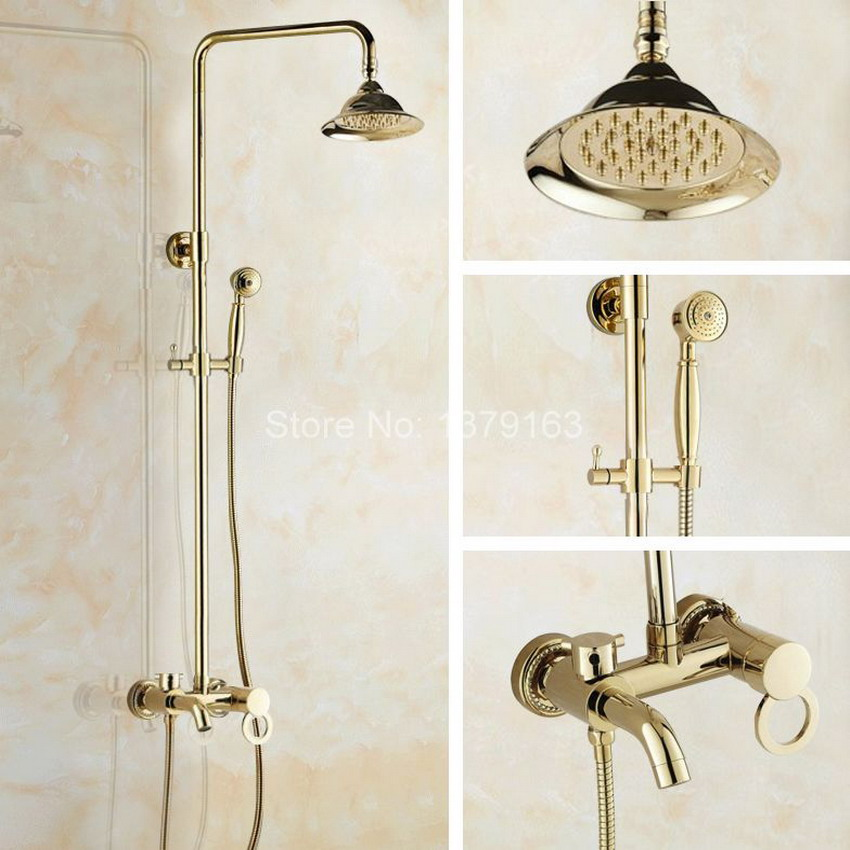 Polished Gold Color Brass Wall Mounted Bathroom Rainfall rain Shower Faucet Set Single Handle Bath Tub Water tap agf407