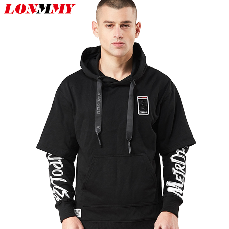 LONMMY Sweatshirts men Hooded Pullovers 85% Cotton Hoodies Tracksuit men Hoody mens Sweatshirts Casual Fashion Black 2018 Spring