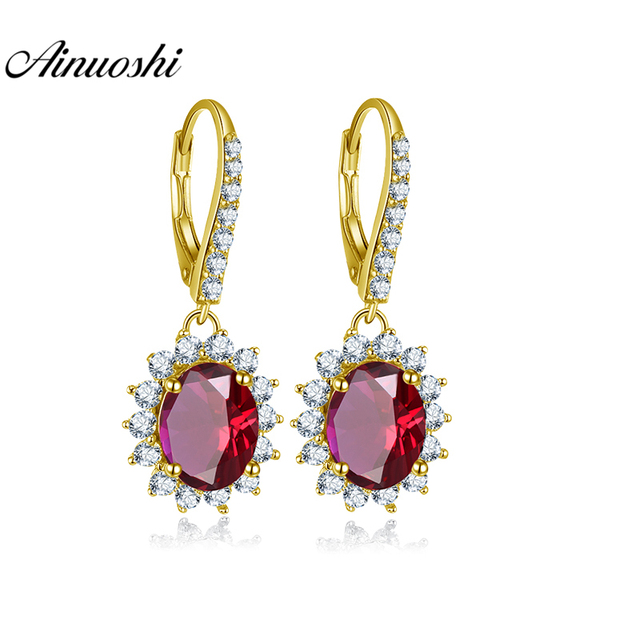 AINUOSHI 14K Yellow Gold Drop Earrings 4ct Oval Cut Red Color SONA Diamond Click Back Earring.jpg 640x640 - AINUOSHI 14K Yellow Gold Drop Earrings 4ct Oval Cut Red Color SONA Diamond Click Back Earring Pierced Earring Jewelry for Women