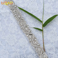 Free Shipping 1 Yard Clear Crystal Beaded Rhinestone Chain Applique Trims Hotfix For Wedding Dresses Sewing