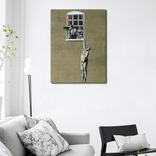 Banksy Naked Man Hanging From Window Wall Art Canvas Posters Prints Painting Pictures For Bedroom Modern Home Decor Artwork