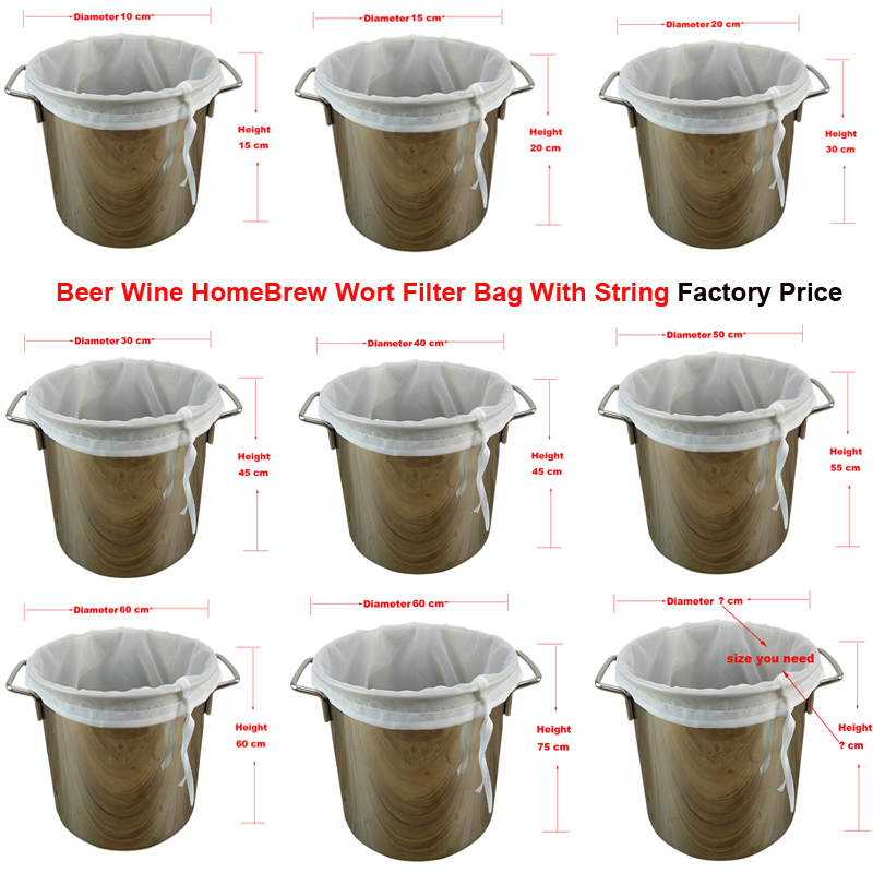 120 Micron Brew Filter Bag Cylinder Beer Wine Homebrewing Reusable Whisky Filtering Fine Nylon Mesh Strainer Brew Tools