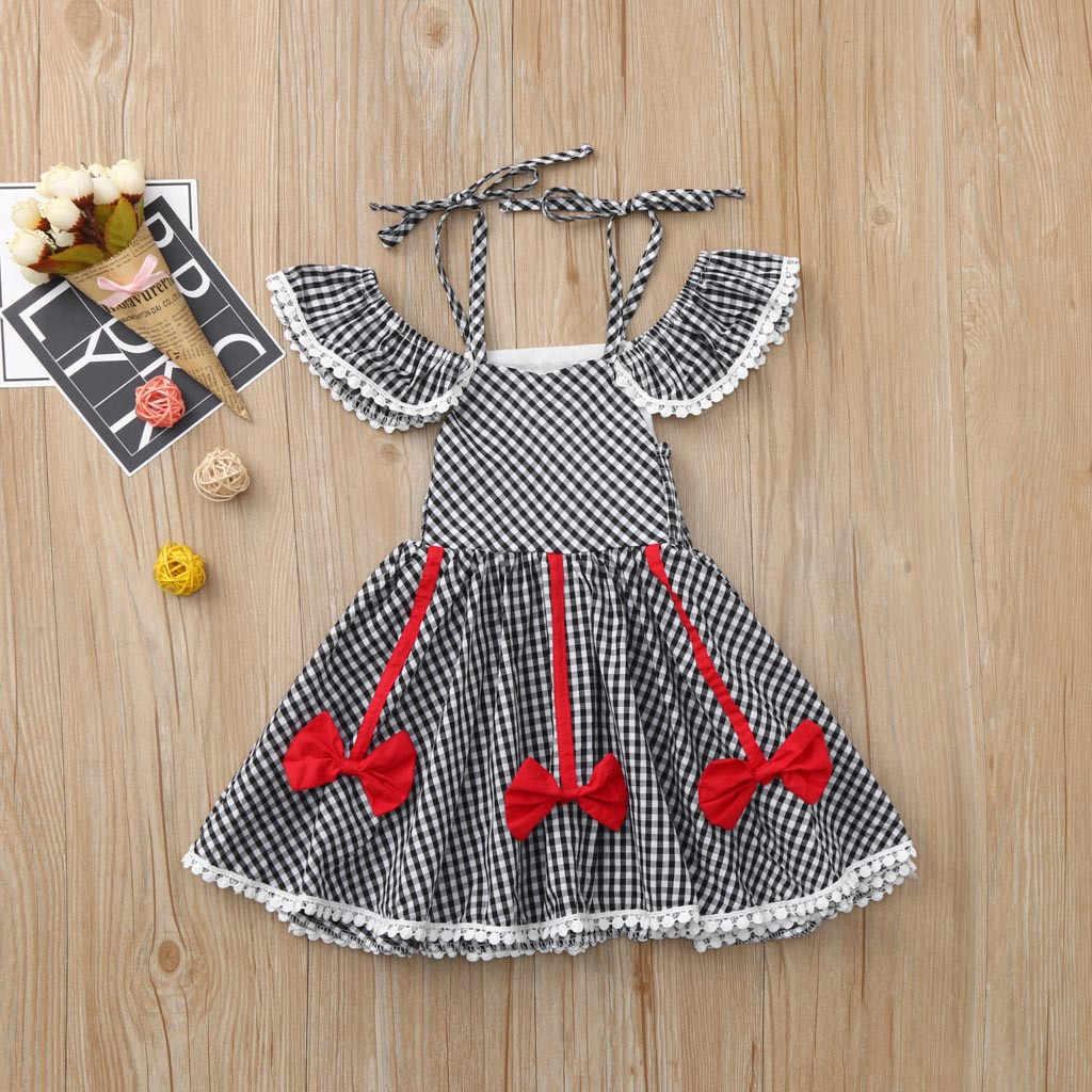 Одежда для малышей для девочек с открытыми плечами платье с принтом, в клетку с бантом и рюшами платья одежда 2019 Весна крещение принцессы день рождения
