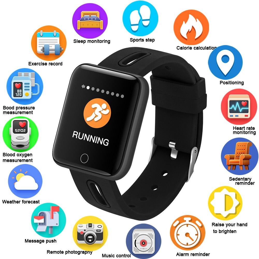 GEJIAN Smartwatch Electronic Smart Watch Women Men Running Cycling Climbing Sport Watch Health Pedometer LED Color
