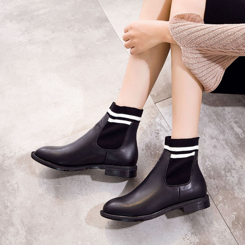 Automne Chelsea Croix Lady Jookrrix Femmes Noir Réel Fille Bottes Rétro Chaussures  Chaussure Femelle Chaussette Cuir En liée Mode CqCOP0 93e69f1eacff