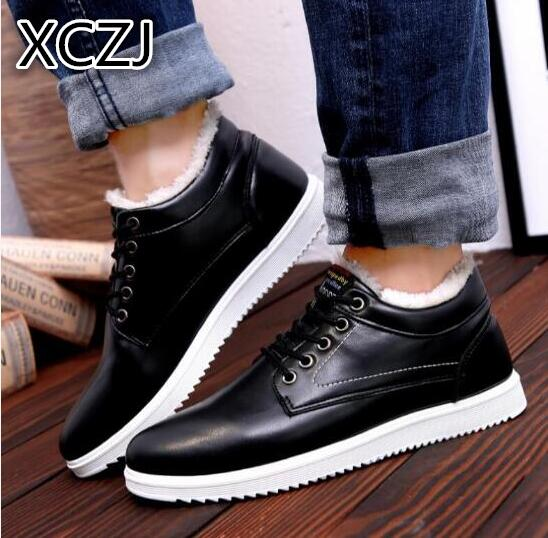 XCZJ Lin cotton autumn and winter warm plus velvet shoes thickening casual shoes men's low to help two cotton men's shoes A88