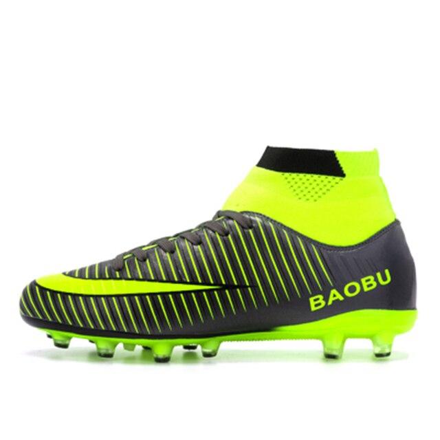 Leoci Hot Sale Mens Grande Tamanho Chuteiras de futebol Traing Alta  Tornozelo Sapatos de Futebol Longo 933b5080989fc
