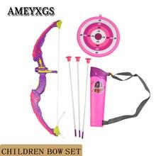 1pc Pink Children Bow Set Kids Archery Shooting Training And Sucker Arrows Team Gun Shootout Game Toy