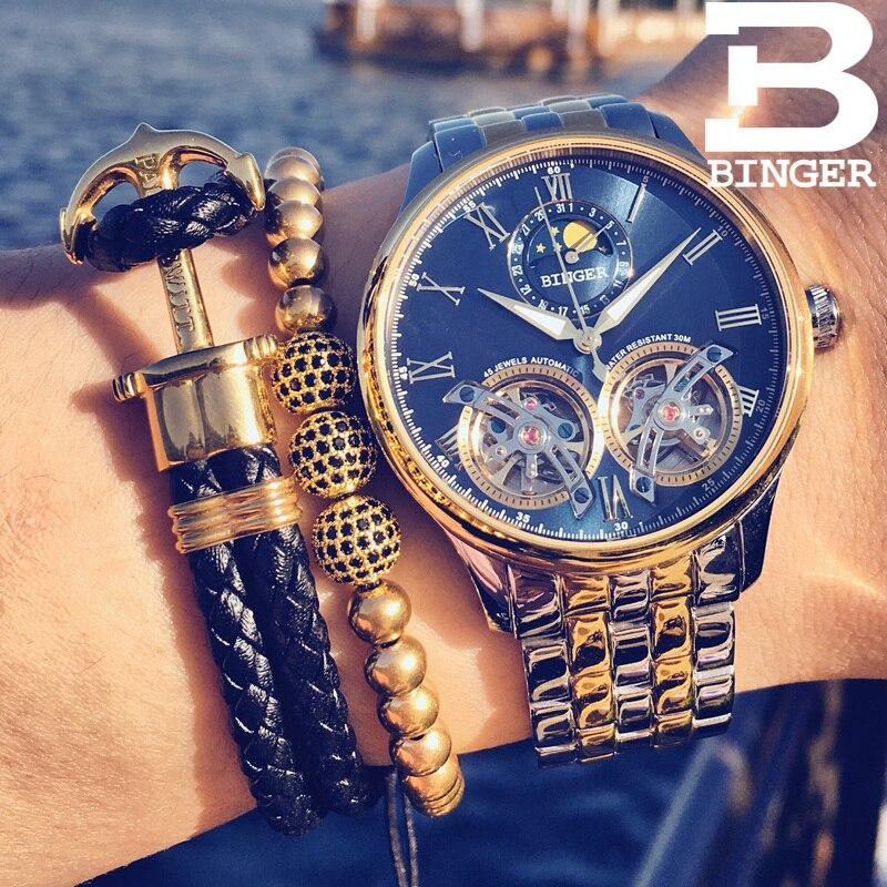 Швейцария BINGER Роскошные Moon Phase автоматические часы для мужчин двойной Tourbillon для мужчин s Скелет деловые часы для мужчин бренд Relogio