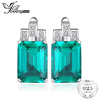 JewelryPalace Luxury 7.6ct Green Nano Russian Created Emeralds Pure 925 Sterling Silver Clip On Earrings Fashion Jewelry Gift