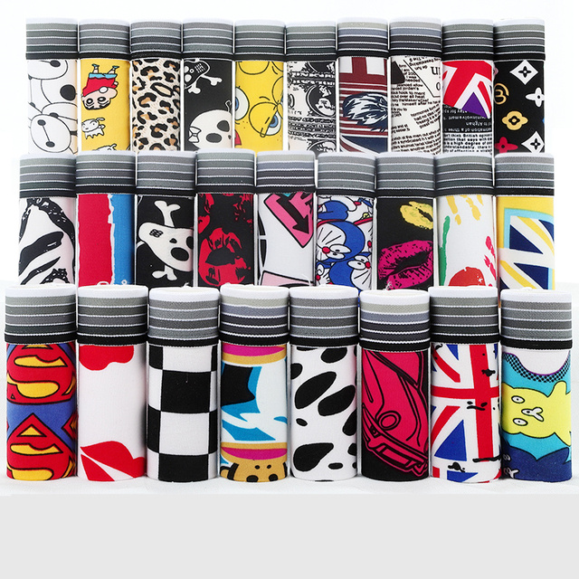 10pcs/lot Lovely Cartoon Print Man Boxers Homme Fashion Silk Underwear Men Comfortable Underpants Soft Breathable Male Panties