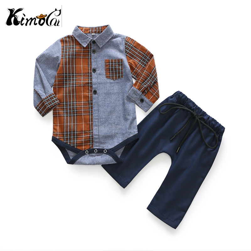 Kimocat sprin autumn baby boy girl clothes Long sleeve rompers shirts+Leisure trousers baby boys clothes baby clothing set