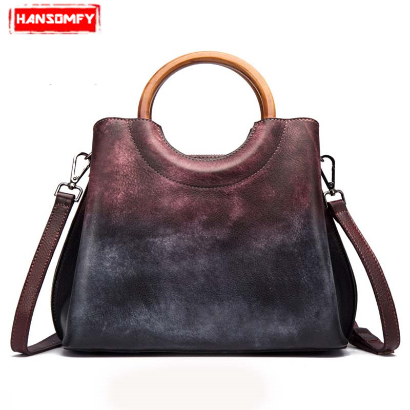 Genuine Leather handbags women handmade first layer leather handbag retro trend ladies Shoulder Bags Messenger totel bag fctossr 2018 new retro genuine leather women handbag first layer of leather shoulder bag handmade leather diagonal female bags