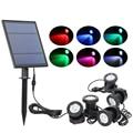 T-SUNRISE LED Solar Powered Lampada Esterna RGB Cambiamento di Colore del Riflettore Solare IP68 Impermeabile Luce Solare Paesaggio per il Giardino