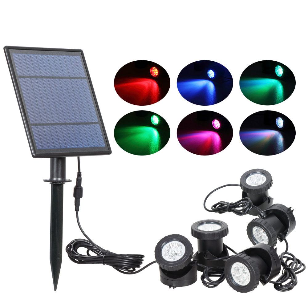 T SUNRISE LED Solar Powered Lamp Outdoor RGB Color Changing Solar Spotlight IP68 Waterproof Solar Light Landscaping for Garden