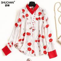 Shuchan New 2019 Womens Tops And Blouses 100% Natural Silk Prairie Chic Button Turn down Collar Blusas Femininas Red And White