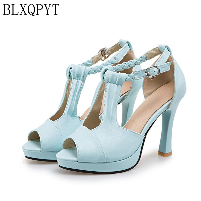 BLXQPYT New Ladies Gladiator Sandals Women Big Size 43 44 Sandals Ladies Party Wedding Shoes High Heels Woman Pumps 3128 new women gladiator sandals ladies pumps high heels shoes woman clear transparent t strap party wedding dress thick crystal heel