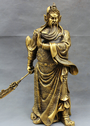 Antiques 2017 9 China Silver Bronze Guan Gong Dragon Sword Door Guardian Statue Figurines & Statues