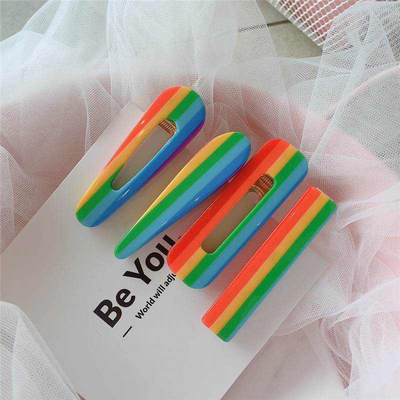HZ 2019 Colorful Rainbow Acrylic Geometric Rectangle Hollow Hair Clip Hair Grip Barrettes Hairpin Hair Accessories For Women