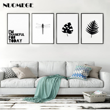 Nordic Style Dragonfly Poster Black and White Canvas Painting Leaf Wall Art Minimalism Picture Simple Modern Home Decoration