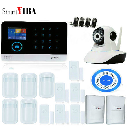 SmartYIBA Wireless Wifi GSM GPRS RFID Home Security Alarm System Home Automation System IP Camera Smoke Fire Sensor Detector yobangsecurity touch keypad wireless wifi gsm home security burglar alarm system wireless siren wifi ip camera smoke detector