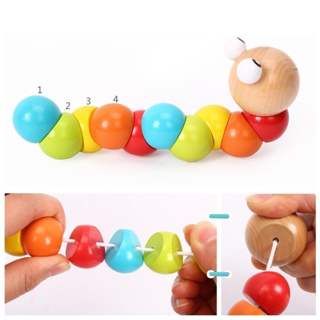 Baby Magical Twisting Insect Wooden Puzzle Toys Kid Train Magic Animal Gifts New