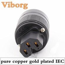 Viborg 2 pcs X Hifi audio Or de cuivre pur plaqué ROYAUME-UNI/UE/ROYAUME-UNI/UA IEC connecteur femelle pour câble d'alimentation de BRICOLAGE
