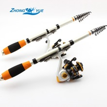 Best price 2016 NEW High Quality Fishing Reel And Rod Set  Telescopic Fishing Rod + 10BB Carp Fishing Spinning Reel Rod Combo Free shipping