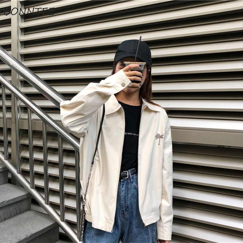 Jackets   Women Harajuku Embroidery Lovely Loose Solid Simple Students Full-length   Basic     Jacket   Korean Style Womens Zipper Trendy