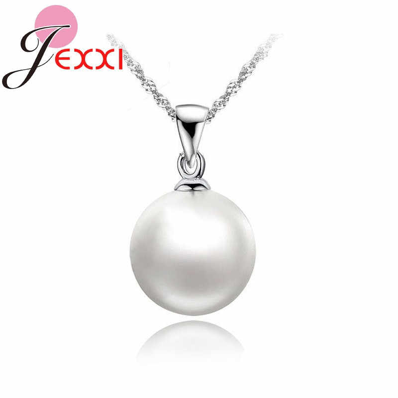 Big Discount Accessories White Pearl Pendant Genuine 925 Sterling Silver Necklaces 18 inch Singapore Necklace Chains For Women
