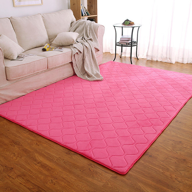 Living room Big Area Carpet Pink Rugs Decoration Coral Velvet Soft ...