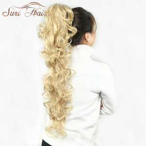 Image 5 - Suri Hair Women HairPiece Ponytail Wavy Claw Fake Hair Extensions 32 inch 220g Black/Blonde 7 Colors Avaliable