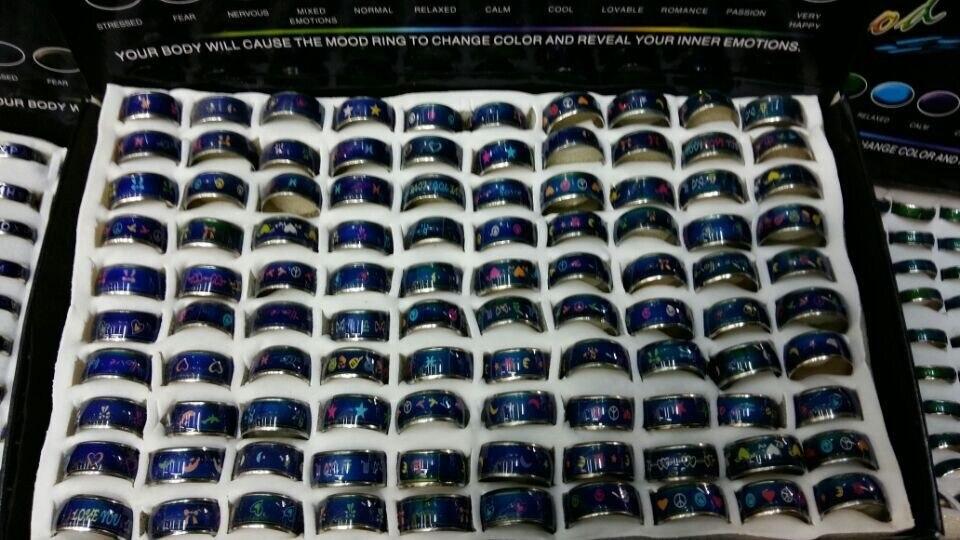 Conception de mélange d'anneau d'humeur de bande dessinée de modèle multicolore de 10mm-in Anneaux from Bijoux et Accessoires    1