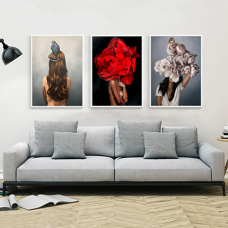 HTB14sMsUHvpK1RjSZFqq6AXUVXaQ Flowers Feathers Woman Abstract Canvas Painting Wall Art Print Poster Picture Decorative Painting Living Room Home Decoration