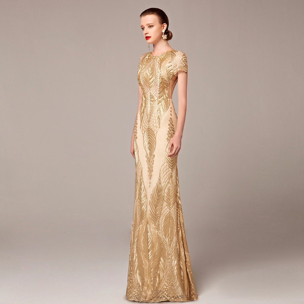 Aliexpress.com : Buy Coniefox Brand Luxury Gold Evening Long Dress ...