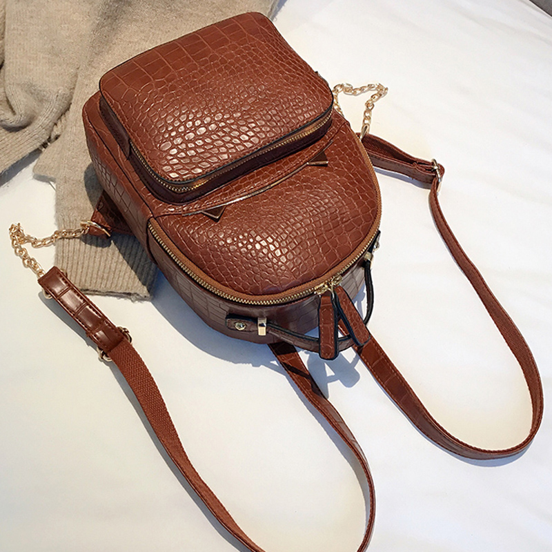 Vintage Crocodile Pattern PU Leather Fashion Backpacks For Women Fashion Alligator Back Pack Girls' Backpack Female Shoulder Bag