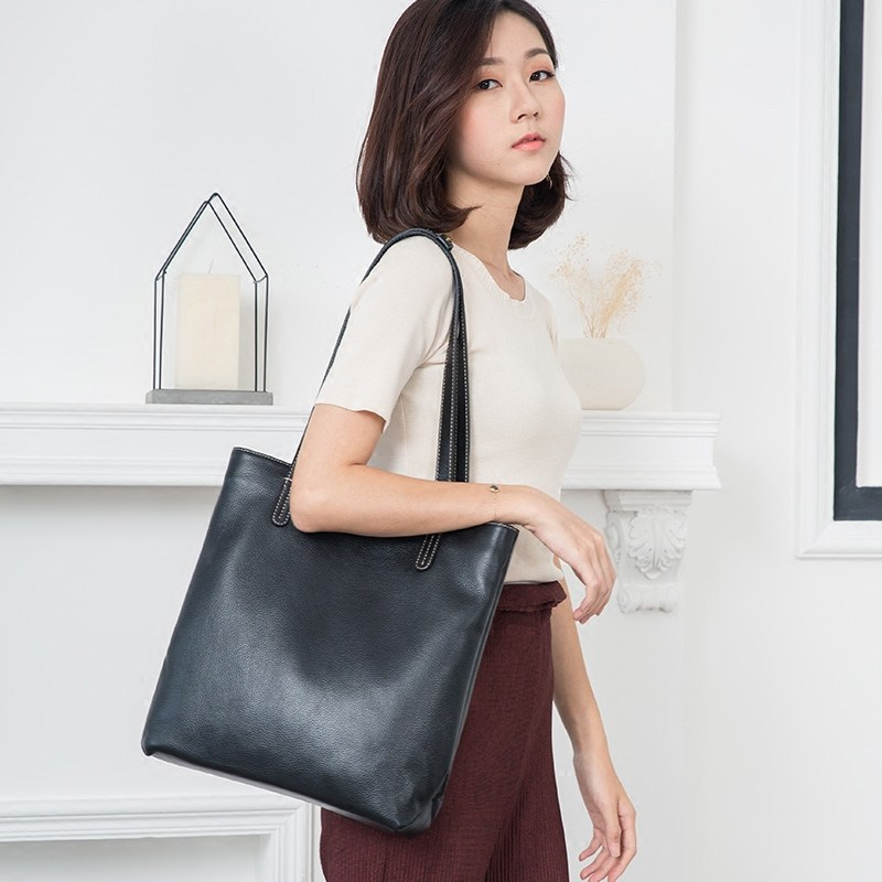 Women Bag Genuine Leather Handbag Casual Totes Lady High Quality Soft Cowhide Shoulder Zipper Bag Shopping Bag Joker Female Bag