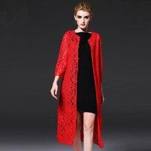 Autumn Women's Vintage lace Black red Chinese Women's Cheongsams Qipao sexy Evening clothes Cardigan Medium long thin coat 66301