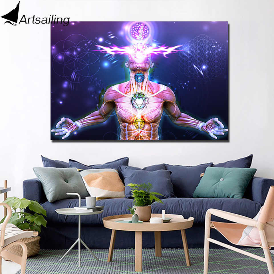HD Modern 1 Panel Painting Canvas Psychedelic Zen Artwork chakra Home Decor Wall Art Picture for Living Room Printed and poster