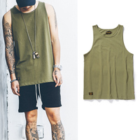 High Quality 2017 Casual Hip Hop Fashion Green Tank Top Solid Color Cotton Vest Oversize Men