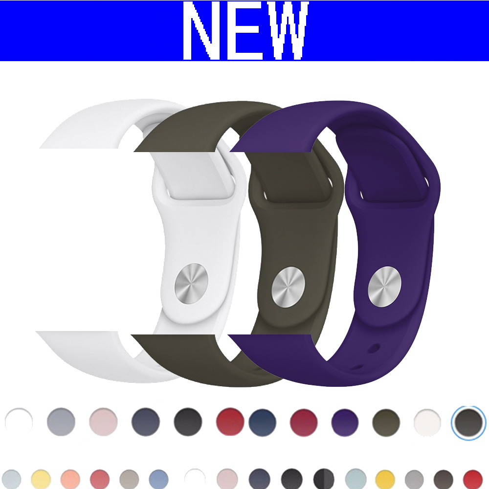 CRESTED New Sport silicone strap band For Apple Watch 42mm 38mm black Bracelet Soft Wrist watch strap For iWatch 3/2/1 belt crested new arrival colorful silicone strap for iwatch 1 2 apple watch nike 42mm rubber sport bracelet wrist band with adapter