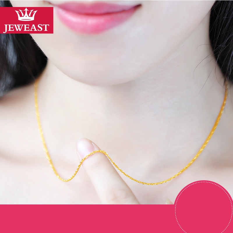 QA 24K Pure Gold Necklace Real AU 999 Solid Gold Chain Brightly Simple Upscale Trendy Classic  Fine Jewelry Hot Sell New 2019