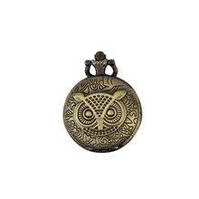 Antique Steampunk Bronze Owl Pocket Watch Vintage Quartz Fob Watch With Chain Necklace Pendant Clock Men Women Relogio De Bolso