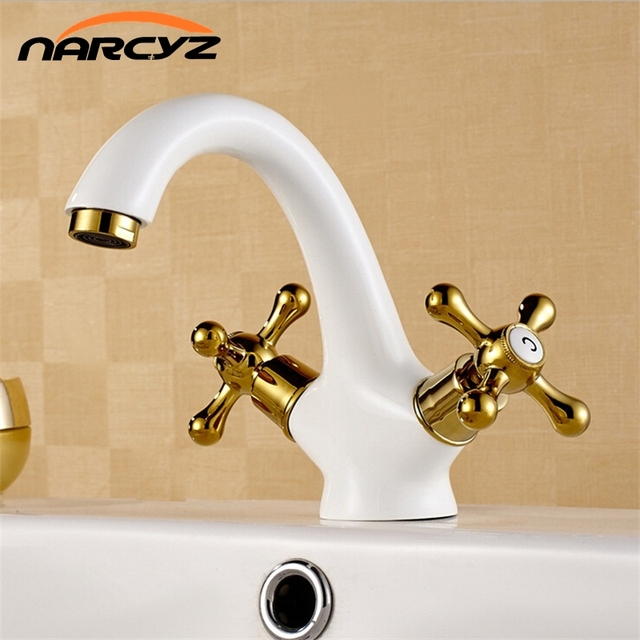 Hot Selling White Plating Brass Gold Double Hands Luxury Elegant Bathroom  Faucets W3001