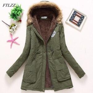 Image 2 - Ftlzz 2020 新パーカー女性の冬のコート肥厚綿の冬のジャケットレディース生き抜くのパーカー女性