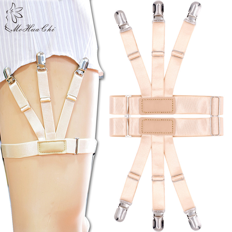 2Pcs Unisex Business Shirt Stays Garters Leg Belt Suspenders Men Braces For Shirt Holder Tirantes Crease-Resistance Sock Stirrup
