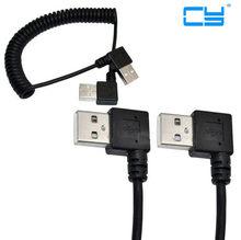 5 pcs/lote Nova 100 cm Espiral Enrolada USB 2.0 Um angulo de 90 graus esquerda parágrafo Macho macho Cabo de extensão